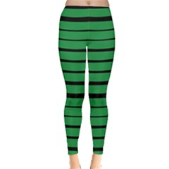 Green Dark Stripes Leggings