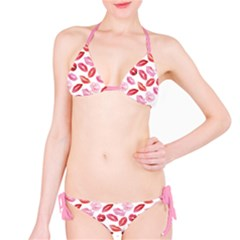 Pink Watercolor Lips Pattern Bikini Set