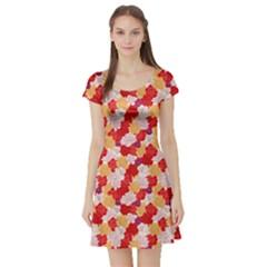 Orange Peony Flowers Short Sleeve Skater Dress