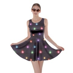 Black Firework of Various Colors on Night Sky Skater Dress by CoolDesigns