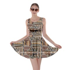 Brown Geometric Elements In The African Style Skater Dress