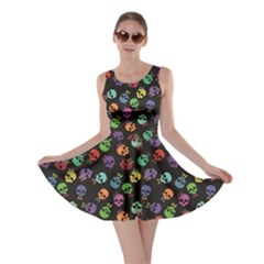 Black Pattern of Funny Cartoon Colorful Skulls on A Black Skater Dress by CoolDesigns