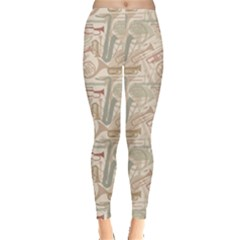 Gray Music Instruments Pattern Musical Instrument Silhouette Women s Leggings by CoolDesigns