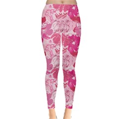 Pink Pattern With Hand Drawn Outlines Frangipani Plumeria Women s Leggings