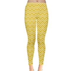 Yellow Yellow And White Chevron Pattern Women s Leggings