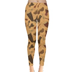 Orange Pattern Of African Percussion Women s Leggings