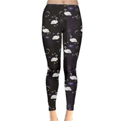 Black Pattern with the Swans Stars and Flowers Women s Leggings by CoolDesigns