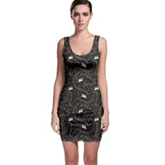 Black Beautiful Musical Pattern With Notes And Piano Keyboard Bodycon Dress by CoolDesigns