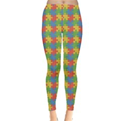 Green Puzzles Color Pattern Women s Leggings by CoolDesigns
