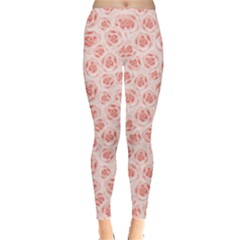 Pink Pattern With Roses Women s Leggings