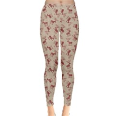 Brown Retro Christmas Pattern With Funny Deers On A Vintage Women s Leggings by CoolDesigns