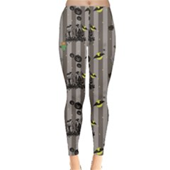 Gray Halloween Pattern With A Pumpkin Spider Scarecrow Women s Leggings by CoolDesigns