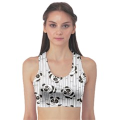 Gray Pattern With Cartoon Pandas Kids Women s Sport Bra