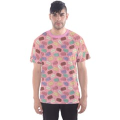 Pink Cute Retro Colored Macarons Pattern Men s Sport Mesh Tee