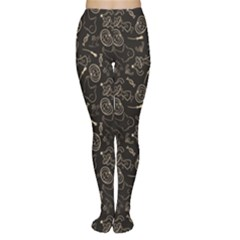 Black Halloween Pattern With Smiling Ghost Pumpkin Witch Women s Tights