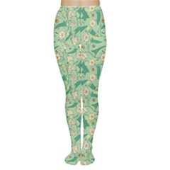 Green Floral Pattern With Bellflower And Bees Women s Tights by CoolDesigns