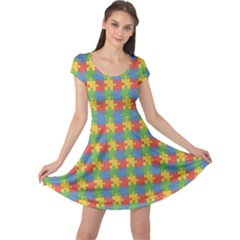 Green Puzzles Color Pattern Cap Sleeve Dress