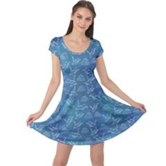 Blue Shadoof Pattern Cap Sleeve Dress