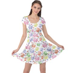 Colorful Watercolor Easter Rabbits Patternornamentcolored Cap Sleeve Dress