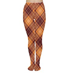 Brown Orange And Brown Cross Pattern Women s Tights