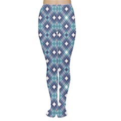 Blue Blue Diagonal Tartan Pattern Women s Tights by CoolDesigns
