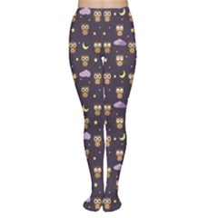 Blue Owls At Night With Stars Clouds And Moon Pattern Women s Tights