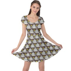 Green Funny Simple Whales Pattern Doodle Pattern Cap Sleeve Dress