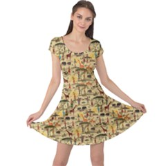 Yellow Ethnic African Cap Sleeve Dress by CoolDesigns