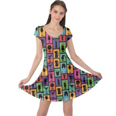 Colorful Colorful Pattern With Silhouettes Of Cocktails And Drinks Cap Sleeve Dress by CoolDesigns