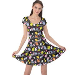 Colorful Pattern Of Colorful Birds On Wires In Night Cap Sleeve Dress