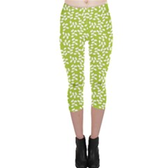 Green Floral Green Pattern Capri Leggings