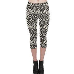 Black Zebra Skin Pattern Capri Leggings by CoolDesigns