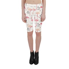 Colorful Flamingo Bird Pattern Cropped Leggings by CoolDesigns