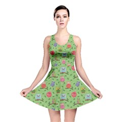 Green Pattern With Colorful Ornamental Owls On A Light Reversible Skater Dress