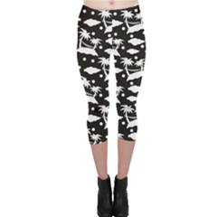 Black Pattern With Silhouettes Coconut Palm Trees Hammock Capri Leggings by CoolDesigns