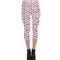 Pink Hanging Skulls Pattern Capri Leggings by CoolDesigns