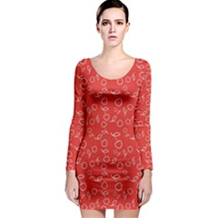 Red Pattern Circuit Cherry Long Sleeve Bodycon Dress