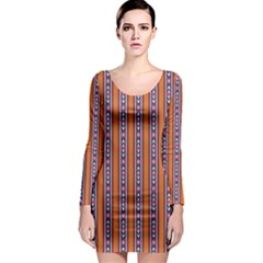 Colorful Ethnic Vertical Stripes Pattern Long Sleeve Bodycon Dress by CoolDesigns