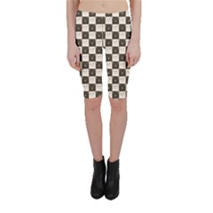 Black Chessboard Made Of Black And White Cats Cropped Leggings by CoolDesigns