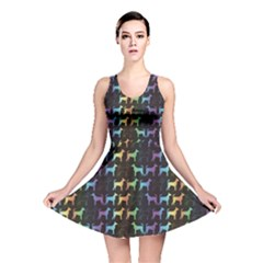 Colorful Bright Spectrum Pattern Of Dog Silhouettes On Black Reversible Skater Dress by CoolDesigns
