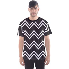 Black Black And White With Zigzag Pattern Men s Sport Mesh Tee by CoolDesigns
