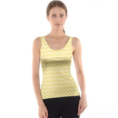 Yellow Yellow And White Chevron Pattern Tank Top by CoolDesigns