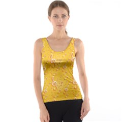 Yellow Yellow Pattern With Music Notes And Key Tank Top