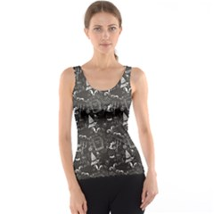 Black Chalkboard Halloween Pattern Tank Top by CoolDesigns