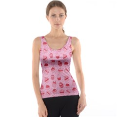 Pink Pattern With Sweet Cupcakes Tank Top by CoolDesigns