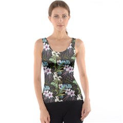 Black Beutiful Watercolor Pattern With Reptiles Chameleon Tank Top