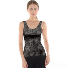 Black Halloween Spider Web Pattern Tank Top by CoolDesigns