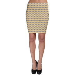 Yellow Retro Modern Chevron Ikat Pattern Bodycon Skirt by CoolDesigns