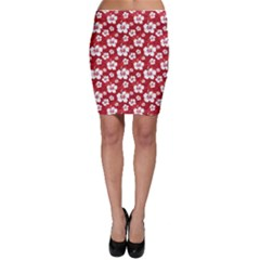 Red Pattern With Hibiscus Flowers On Red  Bodycon Skirt by CoolDesigns