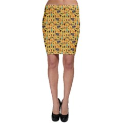 Orange African Ethnic Pattern With Stylized Bodycon Skirt by CoolDesigns